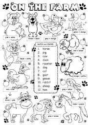 English Worksheet: On the farm - animals (1/3)