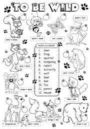 English Worksheet: To be wild - animals (2/3)
