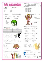 English Worksheet: Revision test for beginners