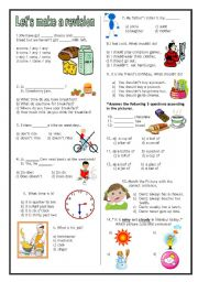English Worksheet: Revision test