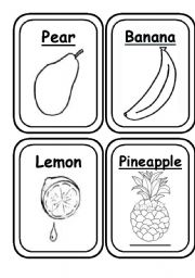 English Worksheet: FRUITS & VEGETABLES - 20 Flashcards B&W