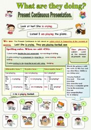 English Worksheet: What are they doing? Presentation of Present Continuous Tense