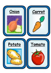 English Worksheet: FRUITS & VEGETABLES  - Flashcards - Part 1