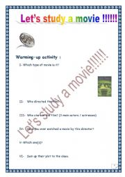 English Worksheets: Let�s study a movie!!!!