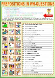 English Worksheets: PREPOSITIONS IN WH-QUESTIONS