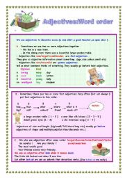 English Worksheet: ADJECTIVES(Word order ) 2 pages