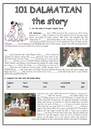 101 DALMATIAN - READING COMPREHENSION