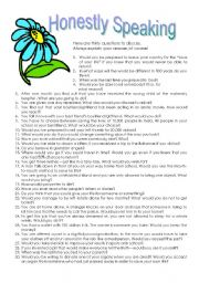 English Worksheet: Honestly Speaking