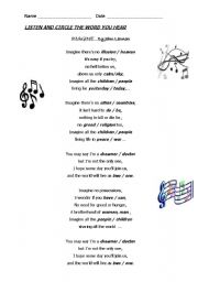 English Worksheet: IMAGINE (THE SONG)