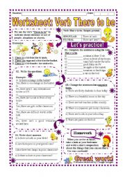 Worksheet: Verb There to be- Simple Present