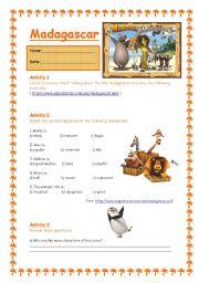 English Worksheet: Madagascar - The Movie 1/3