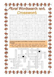 English Worksheet: Plural Wordsearch and Crossword - 6th grade 1 of 2