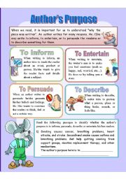 English Worksheets: Author�s Purpose / Why do writers write?