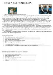 English Worksheet: Have a party in Europe