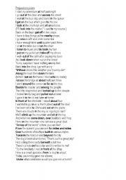 English Worksheet: A preposition poem