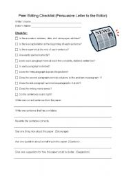 English Worksheet: Peer Editing Checklist (Persuasive Letter to the Editor)