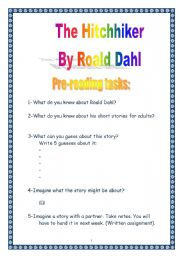 English Worksheet: PROJECT: Reading a short-story by Dahl: the Hitchhiker (9 pages) (plainer version)