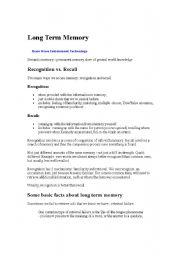 English Worksheets: Long term Memory