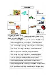 English Worksheet: Directions and reading a map