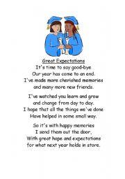 English Worksheets: end of school poem