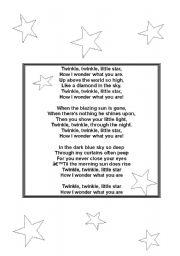 English Worksheet: twinkle little star