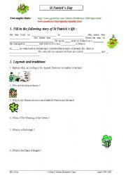 English Worksheets: Saint Patrick Worksheet
