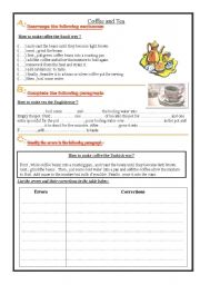 English Worksheet: Coffee and Tea - Writing