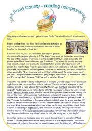 English Worksheet: Junk Food County - reading comprehension