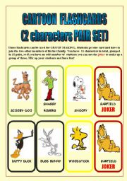 English Worksheets: CARTOON FLASHCARDS (PAIRS SET) 31 characters/3 PAGES