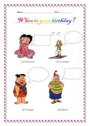 English worksheet: When is your birthday?