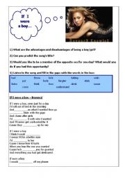 English Worksheet: If I were a boy - song by Beyonce