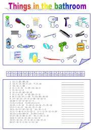 English Worksheet: Things In The BATHROOM
