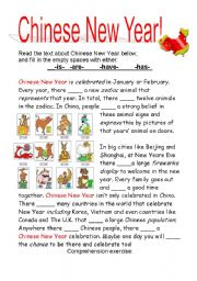 English Worksheet: Chinese New Year!