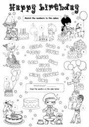 English Worksheet: Happy birthday 1 - level 1