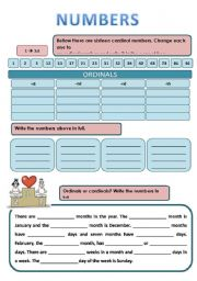 English Worksheet: CARDINAL OR ORDINAL NUMBERS?