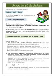 English Worksheet: Inversion of the subject