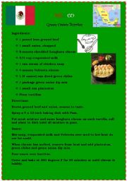 English Worksheet: Recipes...(from Europe (France), Asia (Thailand), Africa (Nigeria), and America (Mexico)