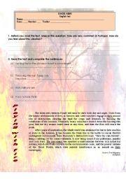 English Worksheet: Test - Burning rainforests (4 pages)