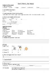 English Worksheets: Don´t worry be happy (song) - part 1