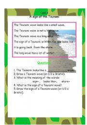 English Worksheet: card 3 Tsunami unit
