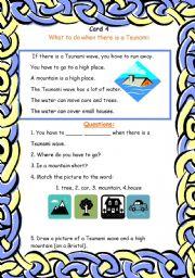 English Worksheet: card 4 of the Tsunami