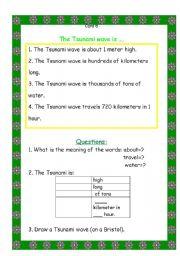 English Worksheet: card 5 TSUNAMI unit