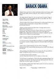 English Worksheet: Barack Obama A2 to B1