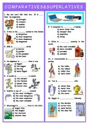 English Worksheet: COMPARATIVES AND SUPERLATIVES TEST
