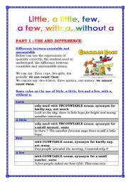 English Worksheet: Little, a little, few, a few, with a, without a (4 pages)+ answers