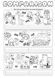 English worksheets: comparison worksheets, page 2