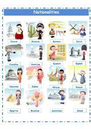 English Worksheet:  Nationalities pictionary!