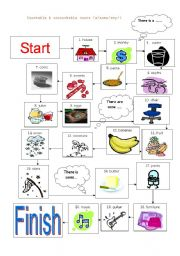 English Worksheets: Board Game - countable & uncountable nouns