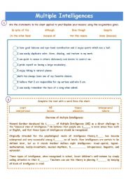 English Worksheet: MULTIPLE INTELLIGENCES!