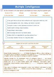 English Worksheets: MULTIPLE INTELLIGENCES!